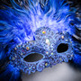 Luxury Traditional Venice Women Carnival Masquerade Venetian Mask with Round Top Feather -  Blue