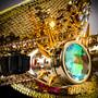 Steampunk Burning Man Festival Captain Hat Party Costume 3D Rhinestones Top Hat - Gold Black