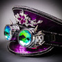 Steampunk Burning Man Captain Hat with Kaleidoscope 3D Goggles - Purple Silver