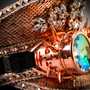 Steampunk Burning Man Captain Hat with Kaleidoscope 3D Goggles - Pink Silver