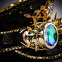 Steampunk Burning Man Captain Hat with Kaleidoscope 3D Goggles - Black Gold