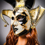 Jester Joker Venetian Masquerade Full Face Mask with Bells - Black White