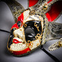 Medieval Jester Musical Joker Venetian Masquerade Full Face Mask with Bells - Red Black