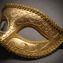 Venetian Classic Eye Mask with Glitter Gold & Venetian Gold Mardi Gras Black White Feather Couple Masks