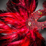 Venetian Classic Eye Mask with Glitter Red & Venice Side Feather Black Couple Masks