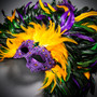Luxury Traditional Venice Women Carnival Masquerade Venetian Mask with Extra Round Top Feather -  Purple Yellow
