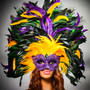 Luxury Venice Women Carnival Masquerade Venetian Mask with Extra Round Top Feather - Purple Yellow (Women full mask)
