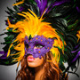Luxury Venice Women Carnival Masquerade Venetian Mask with Extra Round Top Feather - Purple Yellow (side view)
