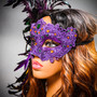 Luxury Traditional Venice Women Carnival Masquerade Venetian Mask with side Feather - Purple Yellow ( model side view)