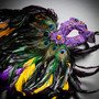 Luxury Traditional Venice Women Carnival Masquerade Venetian Mask with side Feather - Purple Yellow