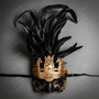 Roman Greek with Pegasus Horses and Feather Mask - Gold Black
