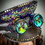 Steampunk Burning Man Captain Hat with Kaleidoscope 3D Goggles - Purple