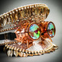 Steampunk Burning Man Captain Hat with Kaleidoscope 3D Goggles & Golden Leaf - Rose Gold