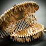 Steampunk Burning Man Captain Hat with Golden Leaf - Gold