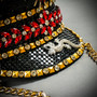 Steampunk Burning Man Captain Hat with Rhinestone Jewelry & Golden Chain - Black Gold