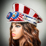 July 4th Party Costume Burning Man Captain Hat with Kaleidoscope 3D Glitter Goggles - USA