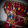 Steampunk Burning Man Captain Hat with Rhinestone Bead Jewelry - Burgundy
