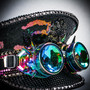 Steampunk Burning Man Captain Hat with Kaleidoscope 3D Goggles - Black