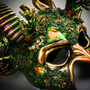 Demon Forest Devil Satan with Horns Masquerade Mask - Black Gold