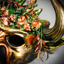 Demon Forest Devil Satan with OX Horns Masquerade Mask - Black Gold