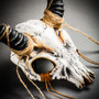 Antelope Devil Animal Skull with Impala Horns Masquerade Mask - White