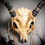 Antelope Devil Animal Skull with Impala Horns Masquerade Mask - Stone White