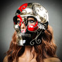 Venetian Mardi Gras Skull Full Face Mask - Red Silver Black