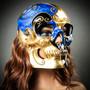Venetian Mardi Gras Skull Full Face Mask - Blue Gold Black