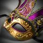 Jester Joker Venetian Musical Eye Mask with Bells - Gold Purple