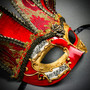Jester Joker Venetian Musical Eye Mask with Bells - Gold Red