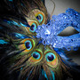 Luxury Traditional Venice Women Carnival Masquerade Venetian Mask with side Feather - Blue