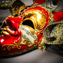 Medieval Jester Musical Joker Venetian Masquerade Full Face Mask with Bells - Black Red Gold