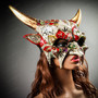 Demon Masquerade Devil Mythical Halloween Party Mask - White Gold