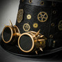 Steampunk Vintage Top Hat with Metallic Gold Goggles - Black Gold