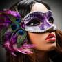 Venetian Side Feather Glitter Eyes Mask - Silver Purple