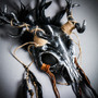 Antelope Devil Deer Horn Skull Ghost Masquerade Mask - Black Silver