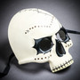 Halloween Skeleton Day of the Dead Skull Mask with Black Eyes - White