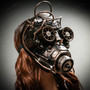 Steampunk Goggles Gas Full Face Mask - Gold