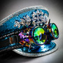 Steampunk Burning Man Captain Hat with Kaleidoscope 3D Goggles -  Royal Blue