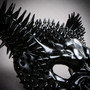 Angry Wolf Steampunk Spike Masquerade Mask - Black