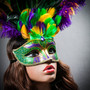 Venetian Glitter Crystal Mardi Gras Mask with Peacock Large Feather - Green Yellow