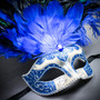 Venetian Glitter Crystal Mardi Gras Mask with Peacock Large Feather - Silver Blue