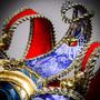 Full Face Venetian Mardi Gras Jester Joker Mask - Red Blue