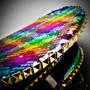 Steampunk Burning Man Captain Hat with Rhinestone & Gold Chain - Rainbow