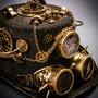 Steampunk Time Traveler Lightning Goggles Top Hat - Antique Gold