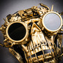 Steampunk Skull Masquerade Full Face Mask with Goggles - Black Gold