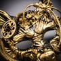Wild Wolf Animal Steampunk Full Face Masquerade Mask - Black Gold