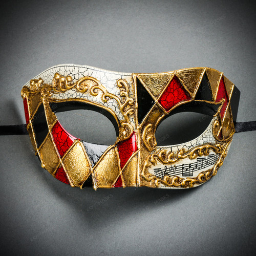 Black Red Glitter Charming Masquerade Ball Mask Mardi Gras Unisex Classic Mask