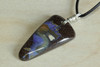 Blue Australian Boulder Opal Pendant on Leather