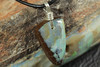 Small Green Boulder Opal Pendant on Leather